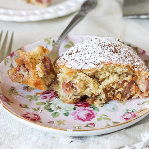 Caramel Rhubarb Cake