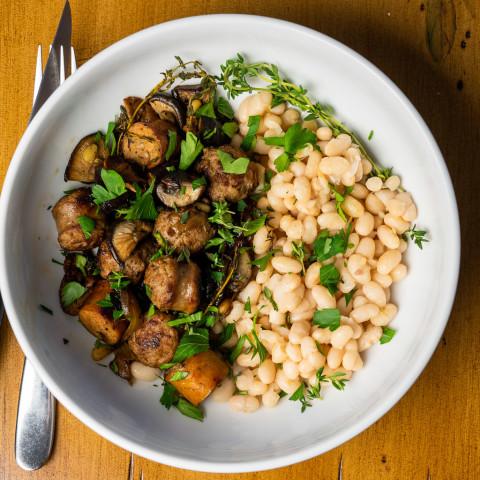 Catalan Pork Sausage w/ Mushrooms
