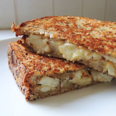 Cauliflower and Roasted Garlic Grilled Cheese