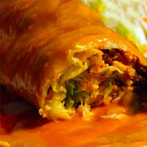 Cheesy Chicken Enchilada Style 'Wet' Burritos with Cilantro Rice