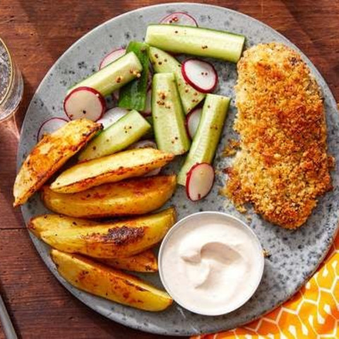 Cheesy Panko-Crusted Chicken with Roasted Potato Wedges & Pickled Veget