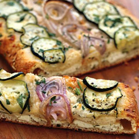 Cheesy Zucchini and Red Onion Flatbread