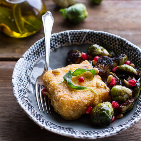 Cheesy Fried Polenta w/ Pan Roasted Balsamic Brussels Sprouts