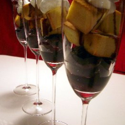Cherries in Spiced Wine Syrup with Pound Cake Croutons