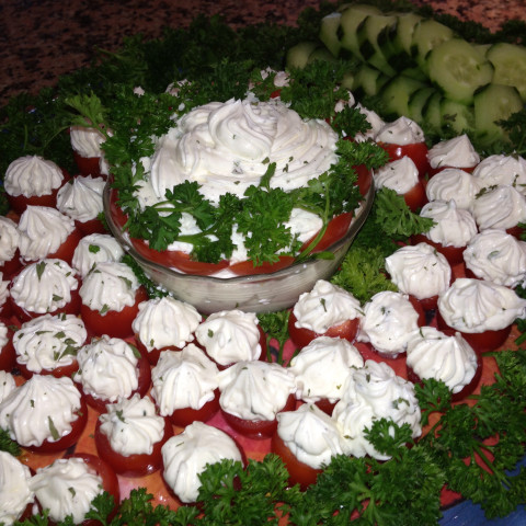 Cherry Tomatoes Filled with Basil Cream Cheese