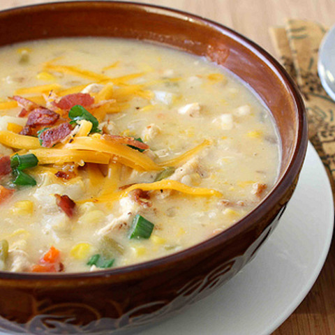 Chicken, Corn and Potato Chowder Recipe with Green Chiles and Cheddar Chees