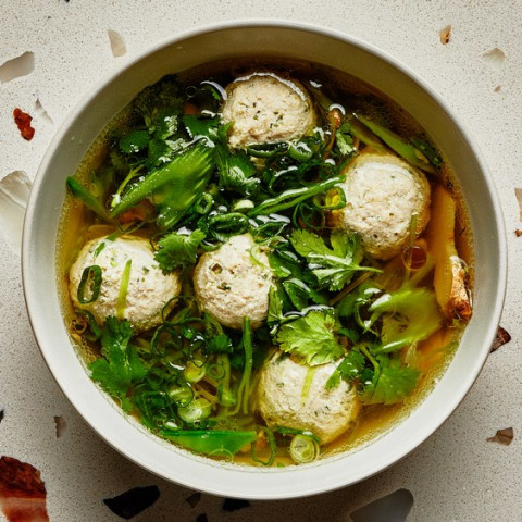 Chicken Meatballs in Spring Vegetable Broth