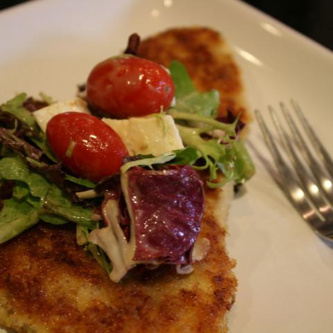 Chicken Paillard with Creamy Parmesan Salad