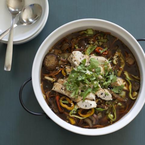 Chicken Soba Noodle Broth Bowl