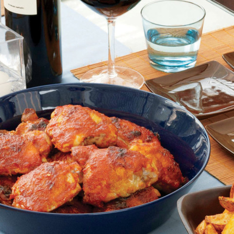 Chicken Thighs with Spicy Tomato-Pepper Sauce