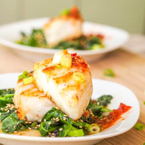 Chilean Sea Bass Recipe with Asian Glaze and Sesame Spinach