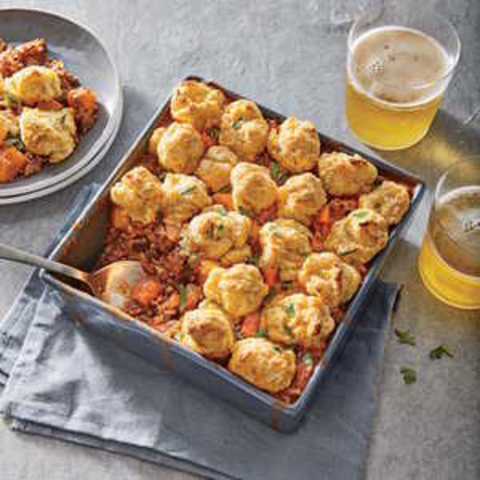 Chili Potpie with Cheddar Biscuits