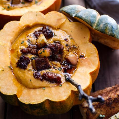 Chipotle Pumpkin Soup with Crispy Chorizo + Glazed Apples.