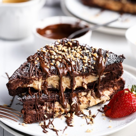 Chocolate Brownie Peanut Butter Cheesecake Stuffed French Toasts