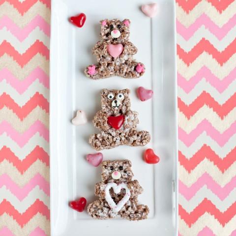 Chocolate Crispy Treat Valentine's Day Bears