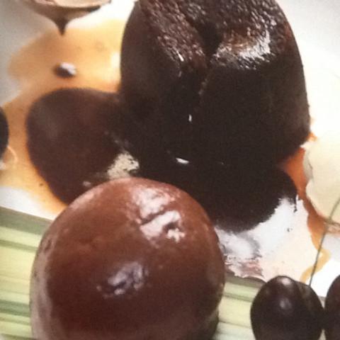 Chocolate Fondants With Cherries & Tamarind Syrup