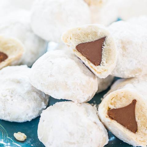 Chocolate Kiss Powder Puff Cookies