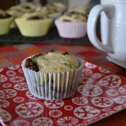 Chocolate Mint Cream Cheese Muffins