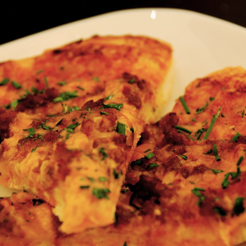 Chorizo, Corn and Smoked Cheddar Pizza
