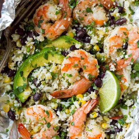 "Cilantro Lime Shrimp and Cauliflower ""Rice"" Foil Packs"