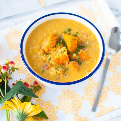 Clean eating sweet potato lentil soup recipe