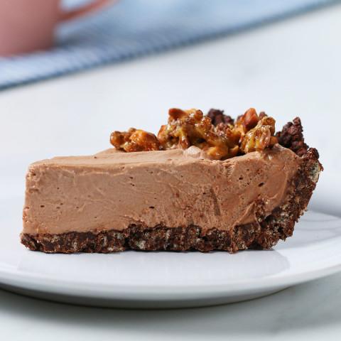 Cocoa Crispy Rice Chocolate Hazelnut Mousse Pie Recipe by Tasty