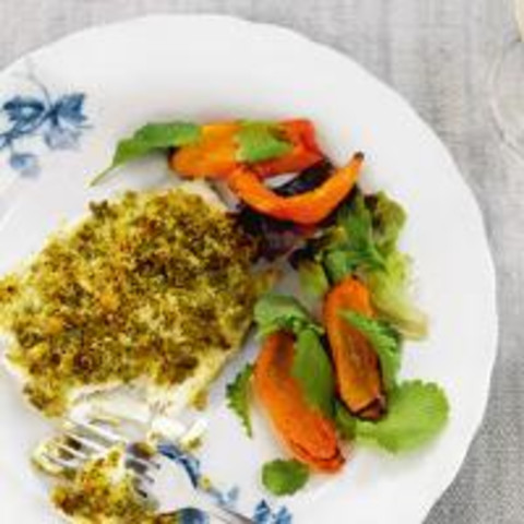 Cod with a cheese and pesto crust