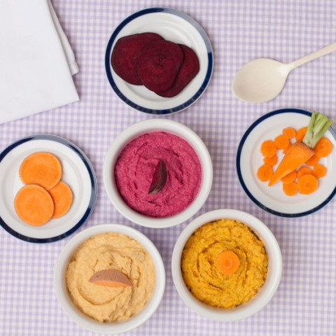 Colour up School Lunches with Vegetable Hummus 3 Ways