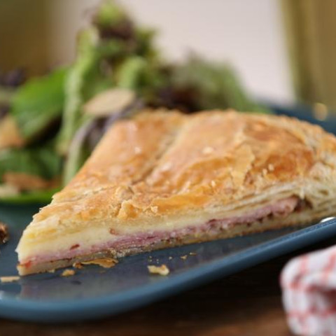 Country Ham and Cheddar Pie with Whole Grain Mustard and Greens with Aprico