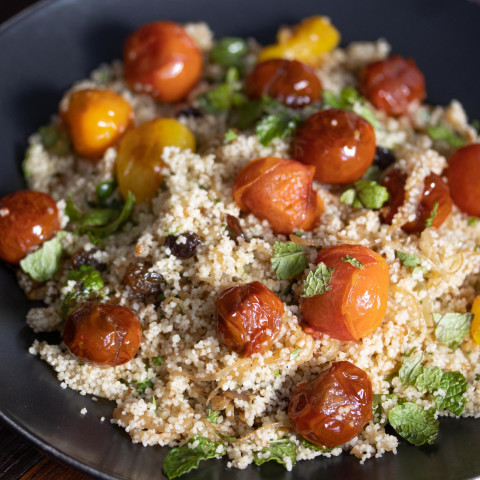 Couscous, Herbs, Tomatoes Salad with Scallops