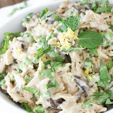 Creamy Vegan Orzo Risotto with Mushrooms and Peas