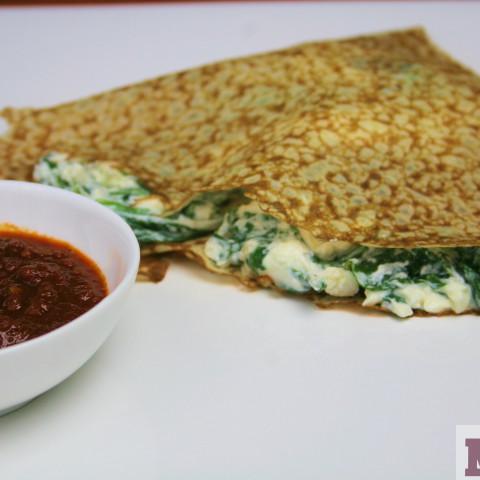 Crepas de espinaca con queso de cabra - Spinach & goat cheese crepes