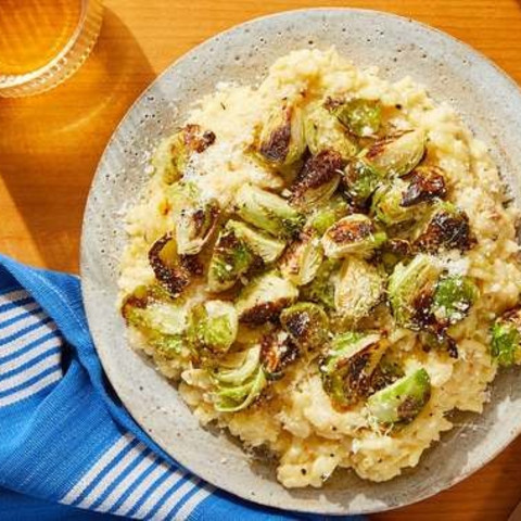 Crispy Brussels Sprout & Saffron Risotto with Parmesan & Goat Chees