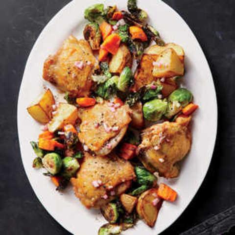 Crispy Chicken Thighs with Schmaltzy Vinaigrette