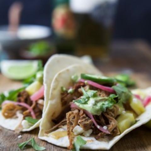 Crock Pot Carnitas Tacos with Avocado Crema