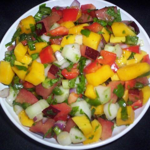 Cucumber, Mango and Plum Salsa