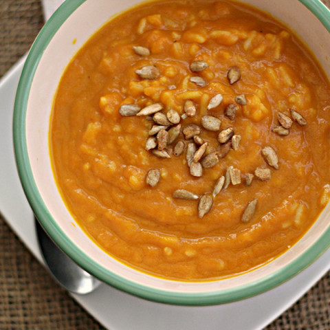 Curried Carrot Soup with Roasted Pepitas