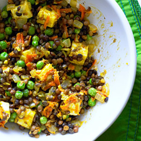 Curried Lentils with Paneer