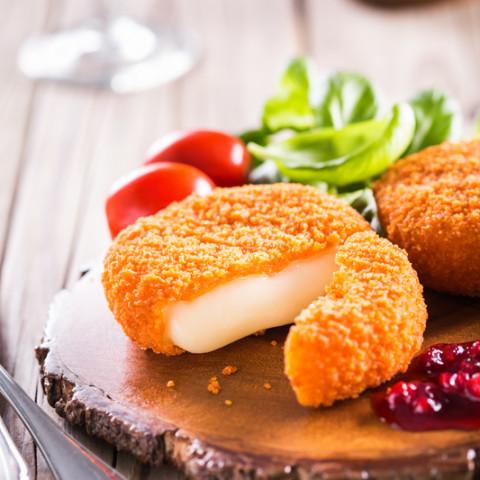 Deep Fried Camembert with Cranberry Sauce
