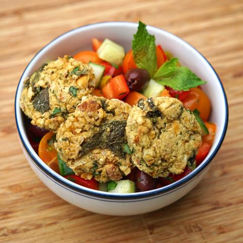 Easy Baked Falafel with Fresh Greek Salad