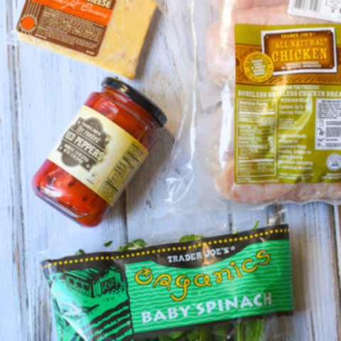 Easy Trader Joe's Meals: Stuffed Chicken with Spinach, Cheese + Roasted Pep