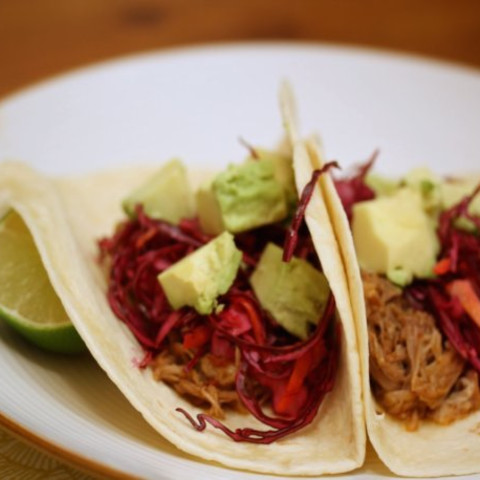 Easy Slow-Cooker Pork Tacos with Red Cabbage Crunch and Avocado