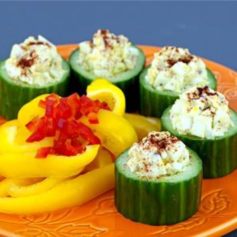 Egg Salad in Cucumber Cups