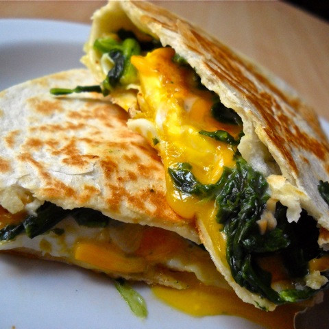 egg florentine quesadillas