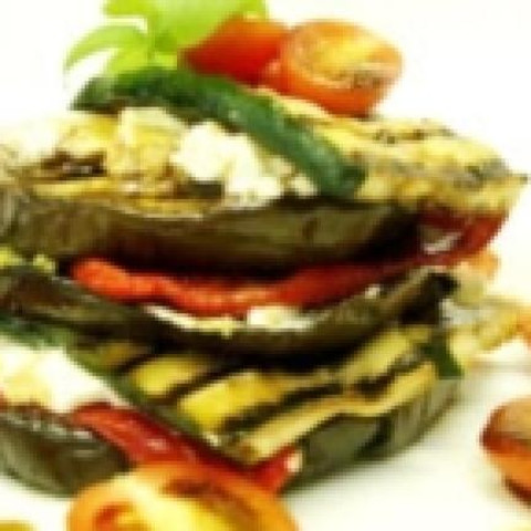 Eggplant stack with goats cheese