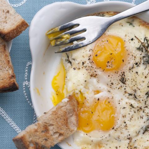 Eggs en Cocotte with Creamed Mushrooms