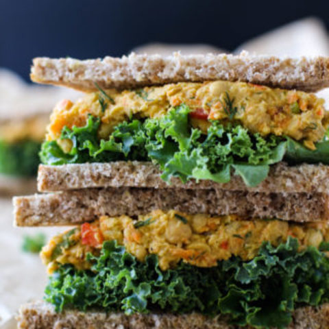 """Eggy"" Veggie Chickpea Salad Sandwiches"