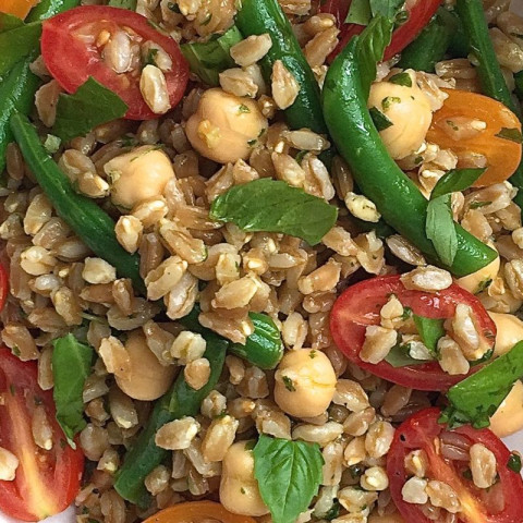 Farro Salad with Tomatoes, Green Beans, and Chickpeas with Basil Vinaigrett