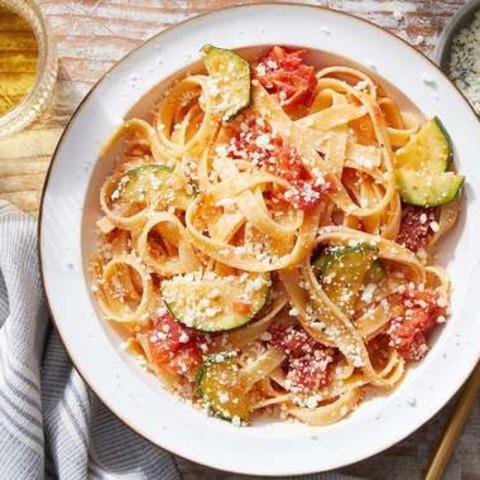 Fettuccine & Saffron-Tomato Sauce with Zucchini & Romano Cheese