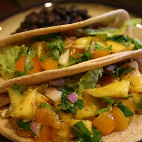 Fish Tacos with Mango Salsa Verde